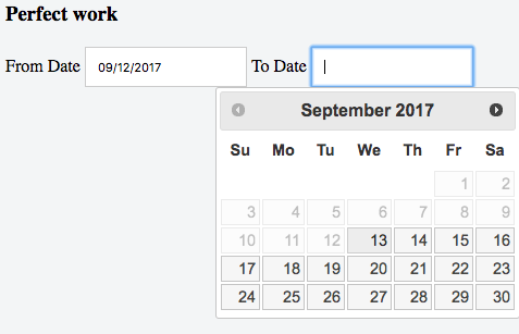 From and To date field setup in JQuery UI Datepicker